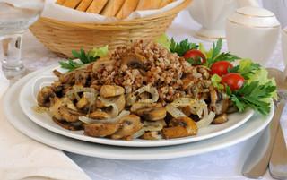 Низкокалорийная гречка с грибами